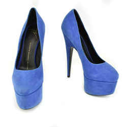 GIUSEPPE ZANOTTI: Royal Blue Leather, Platform Heels/Pumps Sz: 5M
