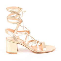 Gianvito Rossi Sandals Gold Metallic Lace Up Block Heel SZ 39