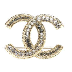 Chanel Gold Timeless CC Crystals Textured Hardware Brooch