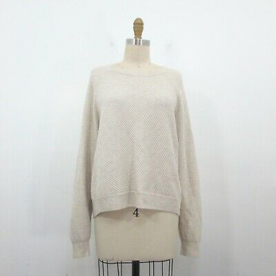 M Vince Cream Diagonal Ribbed Cashmere Wool Blend Pullover Sweater 1206SM