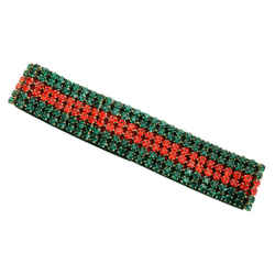 New Authentic Gucci Web Stripe Polyester Headband Elastic Embellished Crystal Red Green Grossgrain 494672 3g125 6466