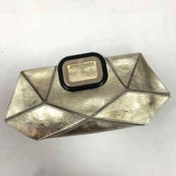 Authentic Roger Vivier Metallic Gold Prismick Clutch