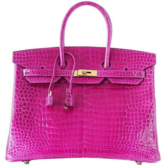 Hermes Birkin 35 Bag Pink Rose Scheherazade Porosus Crocodile Gold Hardware