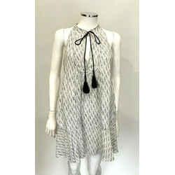 A.l.c. Black White Levi Split Neck Tassel 100% Silk Long Tank Dress Size 4