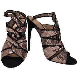 Tom Ford Rose Gold Sequined with Black Suede Sandals Size: EU 39.5 (Approx. US 9.5) Regular (M, B) Item #: 24820807