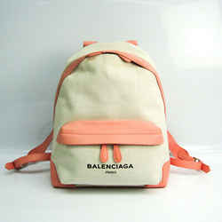 Balenciaga NAVY BACKPACK 409010 Women's Leather,Canvas Backpack Ivory,L BF521260