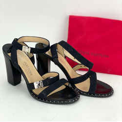 Louis Vuitton Strap Chunky Heel Open Toe Black Suede Pump Size 35 USA 5 A402 Kid