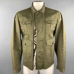 Dsquared2 Size 44 Olive Cotton Zebra Ponyhair Trim Army Jacket