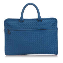 Vintage Authentic Bottega Veneta Blue Intrecciato Leather Business Bag Italy