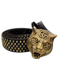Gucci Feline Head Studded Leather Belt Black 451224