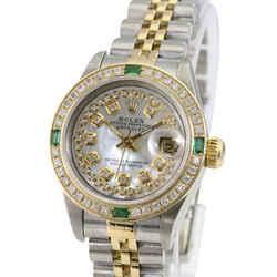 Rolex White Mop Lady Datejust Diamond Dial Diamond Emerald Bezel-watch