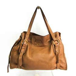 Miu Miu Side Ribbon RR1312 Women's Leather Tote Bag Brown BF517344
