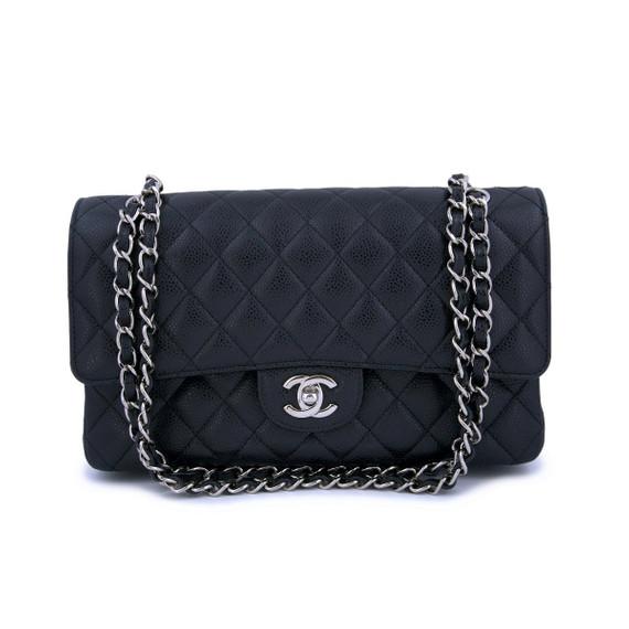 Chanel Black Caviar Medium Classic Double Flap Bag SHW