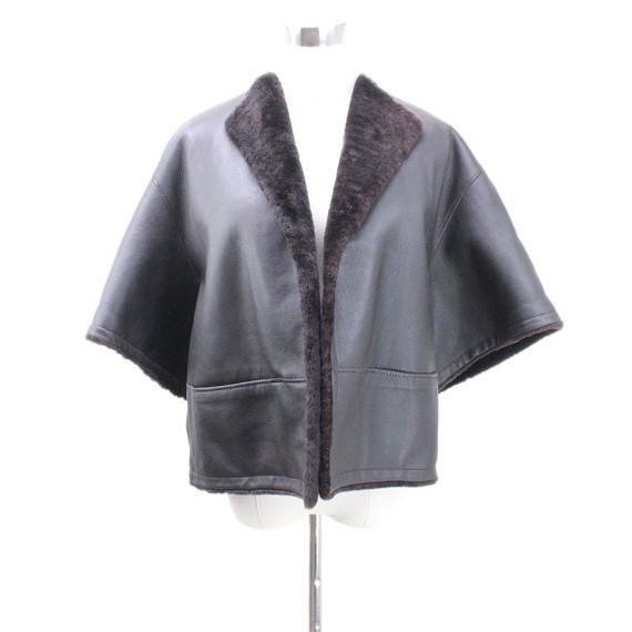 Hermes Brown Lambskin Short Coat Sz 34
