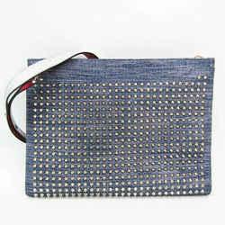 Christian Louboutin SKYPOUCH Unisex Leather,Denim Studded Clutch Bag,Sh BF526785