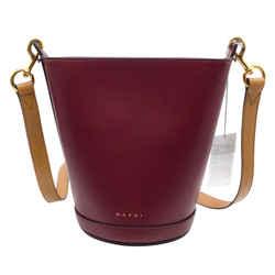 Marni Depot Wine Leather Shoulder Bag