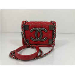 CHANEL Lego Le Boy Brick Calf Leather Red Mini Flap