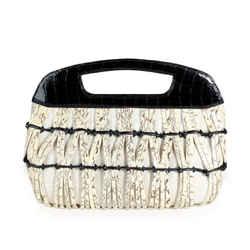Nancy Gonzalez Black Croc & Python Woven Top Handle Bag