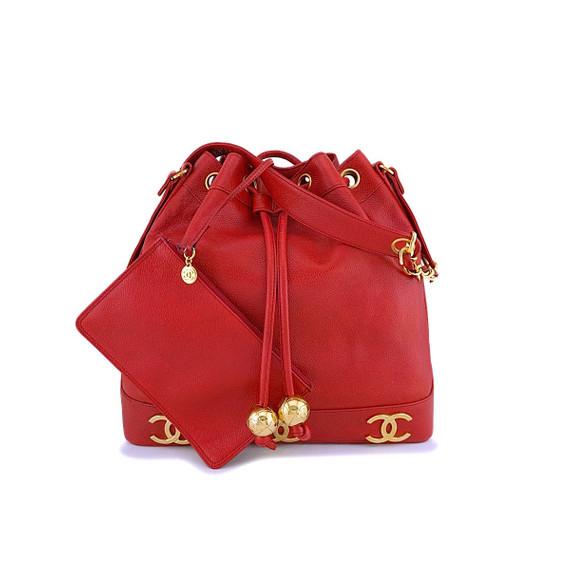 Chanel Vintage Red Caviar Cc Drawstring Bucket Bag 24k Ghw