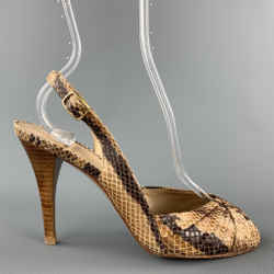 STUART WEITZMAN Size 7 Beige Snake Skin Print Slingback Sandals