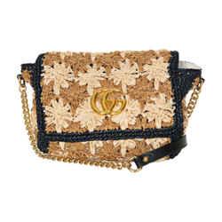 Gucci 2019 Gg Marmont Raffia Crossbody Bag
