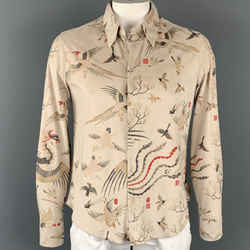 JUST CAVALLI Size L Beige & Gold Print Polyethylene Button Up Long Sleeve Shirt