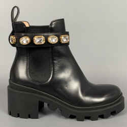 GUCCI Size 5 Black Leather Trip Embellished Ankle Boots