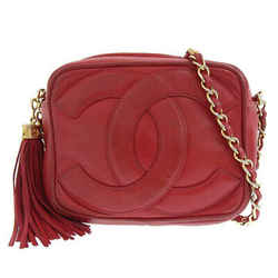 Auth Chanel Lambskin Coco Mark Fringe Chain Shoulder Bag Red 0 Series Leather
