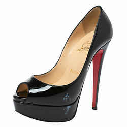 Christian Louboutin Black Patent Leather Lady Peep Toe Platform Pumps Size 35