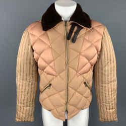 Tan Quilted Patchwork Brown Fur Collar Puffer Jacket