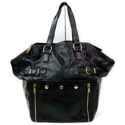 Saint Laurent 872000 YSL Black Patent Leather Downtown Tote