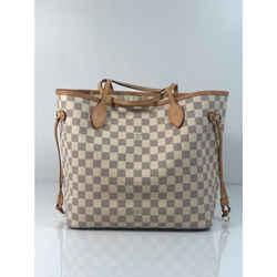 Louis Vuitton Damier Azur Neverfull MM with Cream Interior Tote Shoulder Handbag