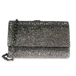 Judith Leiber Gray Crystal & Satin Clutch