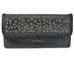 SALVATORE FERRAGAMO: Black, Leather Whip-Stitch & Logo Long Wallet