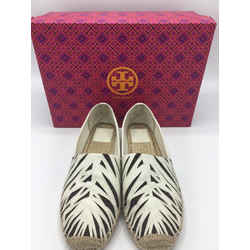 Tory Burch Size 9 White & Brown Flats