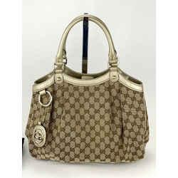 GUCCI Sukey Medium Original GG Canvas Brown Tote Shoulder Bag Rare ChampagneB297