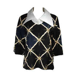 PIERRE BALMAIN Embellished Blouse w/ Exaggerated Collar Size Small