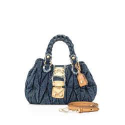 Pre-Owned Miu Miu Blue Matelasse Denim Coffer Bag